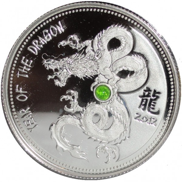 Kamerun 1000 Francs 1 Oz Silbermünze Diopsid Drache 2012 Etui