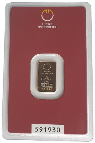 2 gr Goldbarren Münze Österreich 999,9/1000 Feingold im Blister
