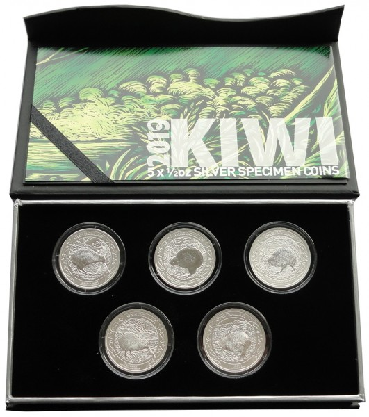 Neuseeland 5 x 1/2 Oz Silber Kiwi Specimen Set 2019 Proof - Like