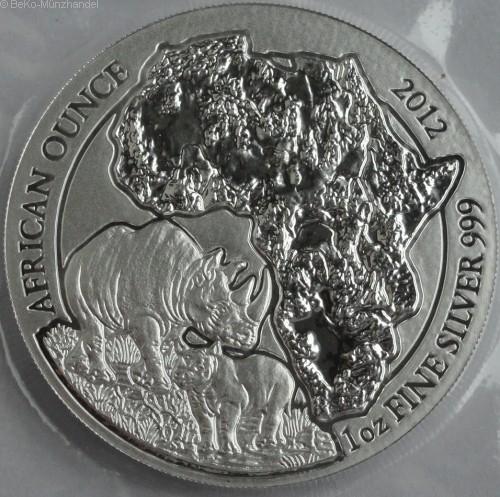 Ruanda 1 Oz Silber Nashorn 2012 BU
