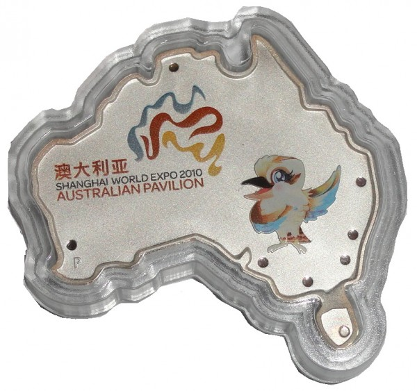 Australien 1 Oz Silber Kookaburra Map Shaped Shanghai World Expo 2010