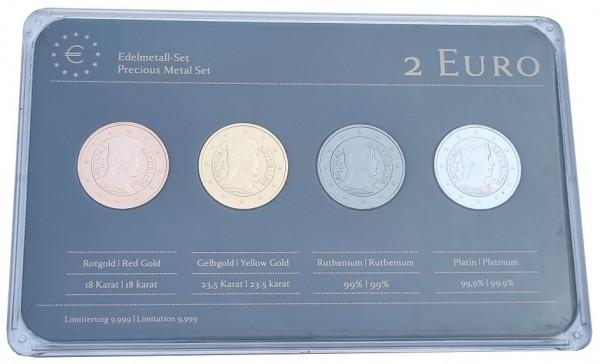 Lettland 4 x 2 Euro Münzen Milda 2014 Prestige Edelmetall - Set Rotgold, Gold, Ruthenium