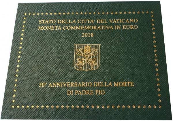 Vatikan 2 Euro Patre Pio 2018 BU im Blister