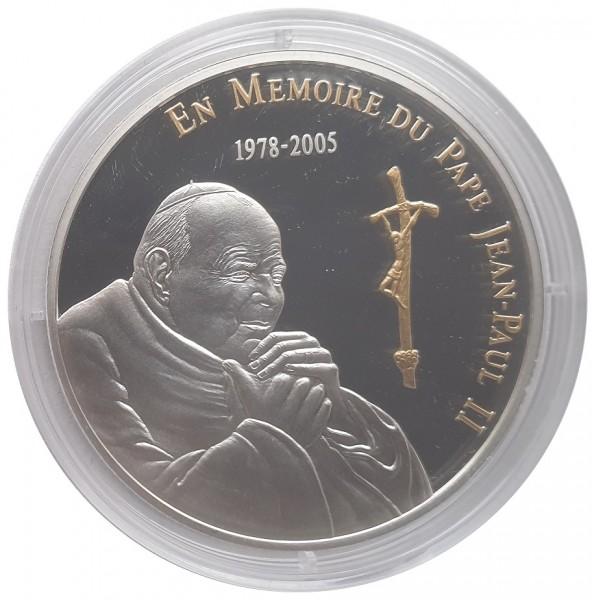 Kongo 10 Francs Silbermünze in Memoriam Papst Johannes Paul II 2005 Polierte Platte