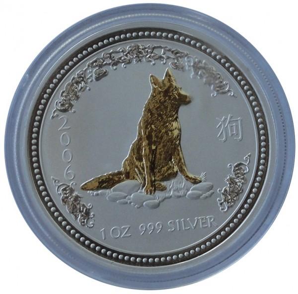 Australien 1 Oz Silber Lunar I Serie Hund 2006 Gilded vergoldet