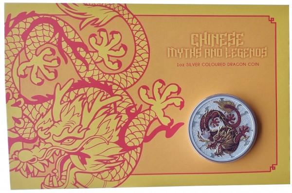 Australien 1 Oz Silber Drache (Chinese Dragon) 2021 Farbe - Color Blister
