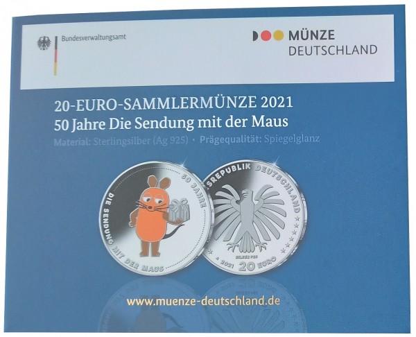 20 Euro Silber Gedenkmünze 50 Jahre Sendung mit der Maus 2021 PP Spiegelglanz Farbe Blister