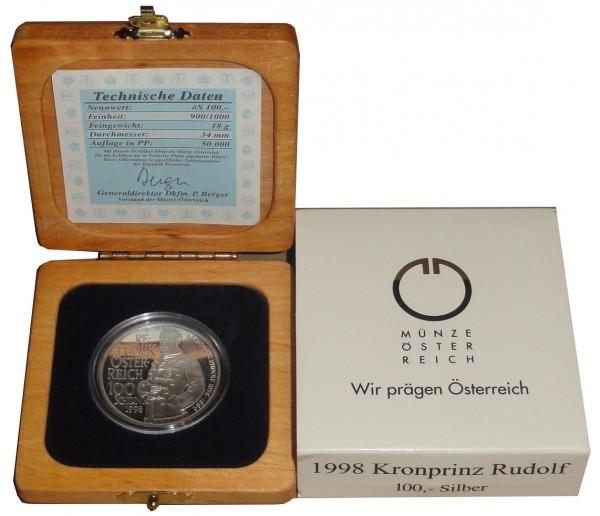 Österreich 100 Schilling Silbermünze Kronprinz Rudolf 1998 PP