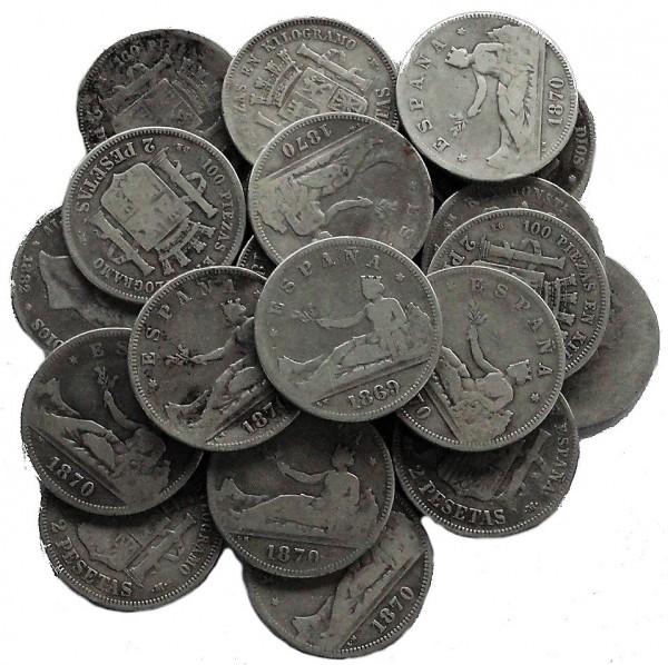 Anlagepaket: Spanien 23 x 2 Pesetas Silbermünzen 227 gr 835/1000 Silber