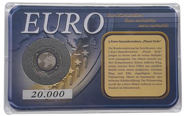 5 Euro Blauer Planet 2016 im Plastiketui + Echtheits - Zertifikat vom Bayerischen Münzkontor