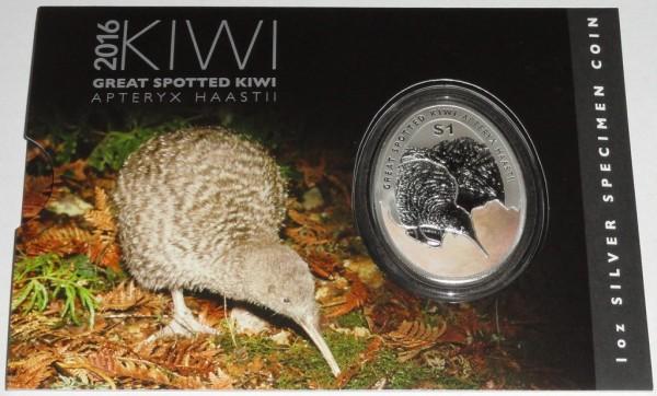 Neuseeland 1 Oz Silber Kiwi 2016 St Blister