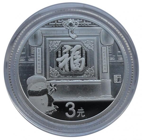 China 3 Yuan 8 gr Silber Neujahrsmünze 2017 Polierte Platte