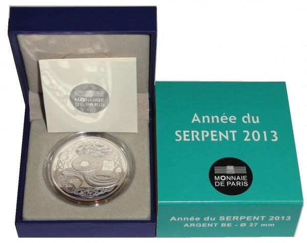 Frankreich 10 Euro Silbermünze Schlange 2013 Proof - Finish im Etui