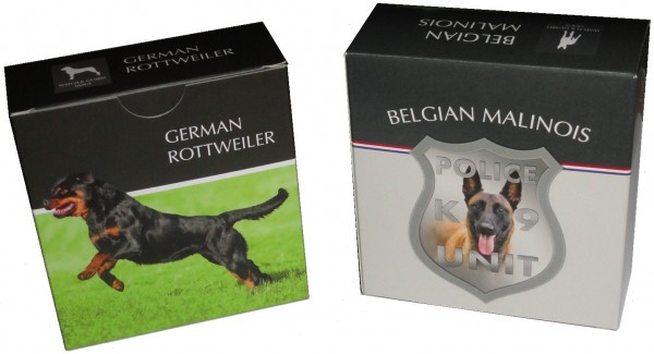 Niue 1 Oz Silber German Rottweiler 2015 Etui + Niue 1 Oz Silber Belgian Malinois 2016 Etui