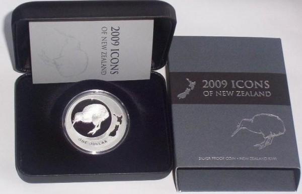 Neuseeland 1 Oz Silber Kiwi 2009 PP im Etui