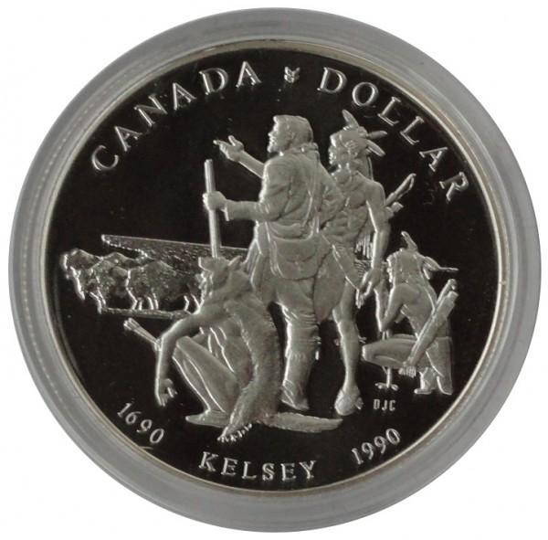 Canada One Dollar Silber Kelsey und Pelzhändler 1990 Polierte Platte