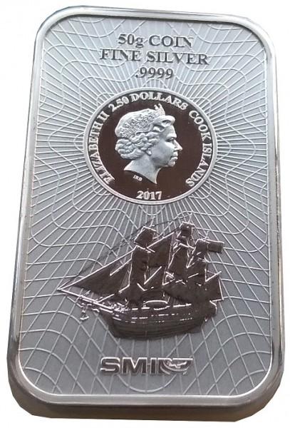 50 gr Silberbarren - Münzbarren Cook Inseln 2017 Bounty 999.9/1000 Feinsilber