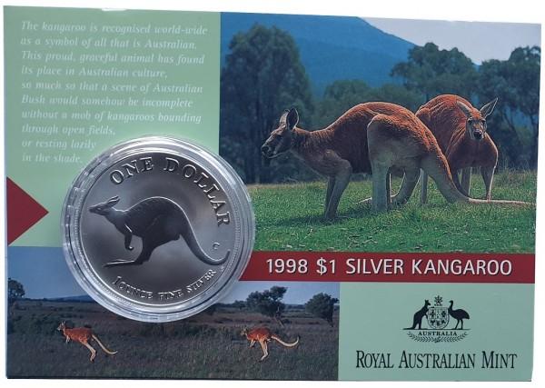 1 Oz Silber Känguru 1998 im Blister - Frosted Proof aus Australien