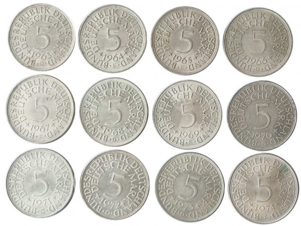 BRD: 12 x 5 DM Umlaufmünzen Silber 1963 - 1974 TOP - Erhaltung