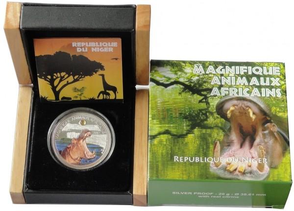 Niger 1000 Francs Silbermünze Hippo Nilpferd PP 2012