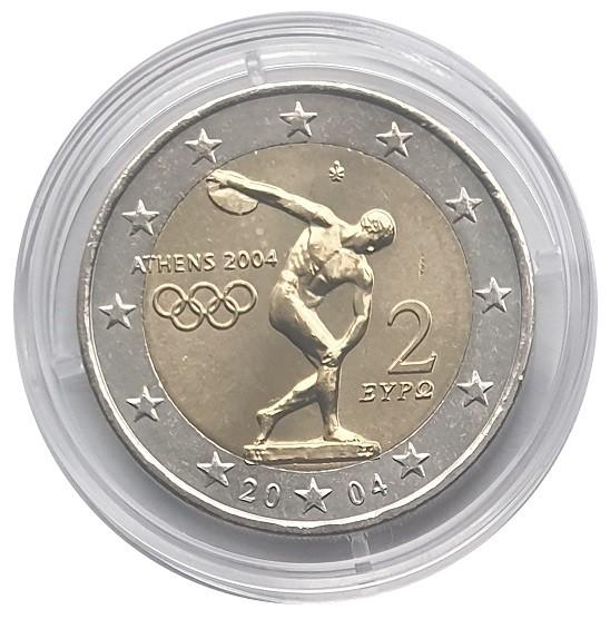 2 Euro Griechenland 2004 Diskuswerfer Bankfrisch in Münzkapsel