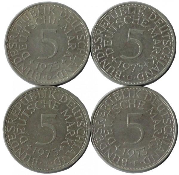 BRD: 5 DM Umlaufmünzen Silber DFGJ 1973 Komplettsatz