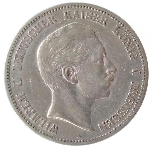 Deutsches Kaiserreich 5 Mark Silber Kaiser Wilhelm II 1904 A