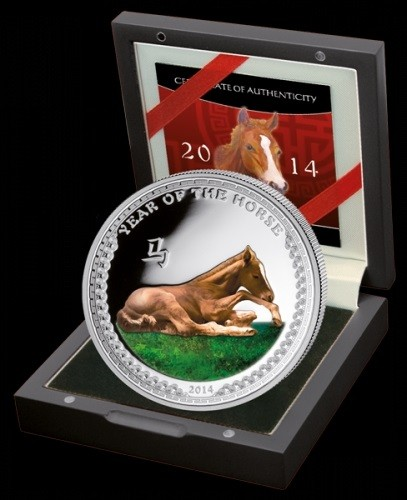 Palau 2 Dollar 1/2oz Silber Pferd 2014 Polierte Platte Farbe