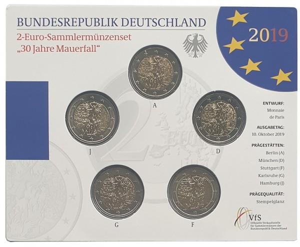 5 x 2 Euro Mauerfall 2019 ADFGJ Stempelglanz Gedenkmünzen - Set im Blister aus Deutschland