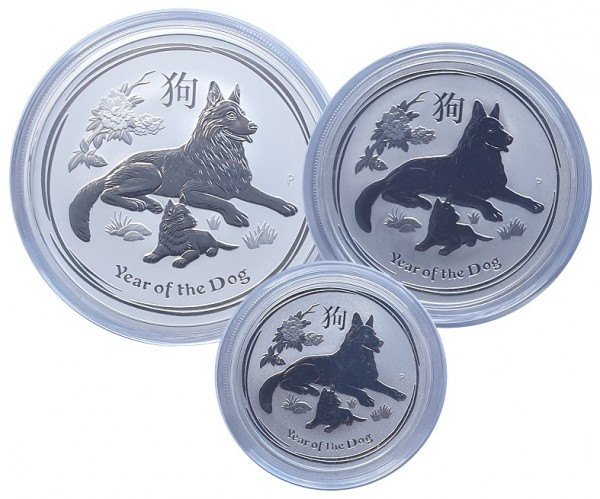 Australien 2 Oz, 1 Oz u. 1/2 Oz Silber Lunar Hund II 2018