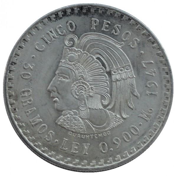 Mexico 5 Pesos Silbermünze 1947