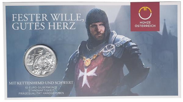 10 Euro Silber Standhaftigkeit Kreuzritter 2020 Blister Handgehoben Kettenhemd u. Schwert Österreich
