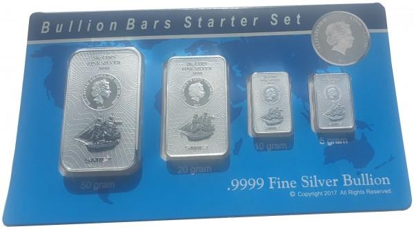 Silberbarren - Münzbarren Cook Inseln Bounty 85 gr Silber Starter Set im Blister