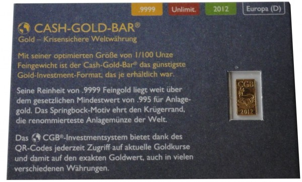 Goldbarren Cash-Gold-Bar 1/100 Oz Gold Springbock 2012 im Blister