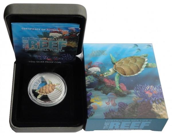 Australien 1/2 Oz Silber Sea Life Serie II Hawksbill Turtle Karettschildkröte 2011 Polierte Platte