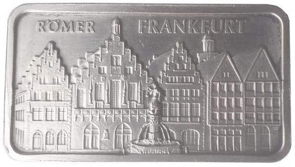1 Oz Silberbarren Heraeus Edelmetalle Hanau. Motivbarren: Römer Frankfurt