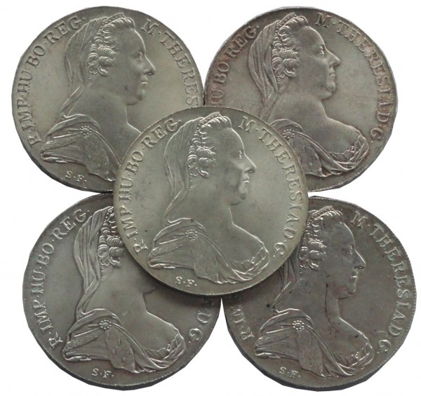 Österreich 5 x Maria Theresia Taler Silber 1780 NP