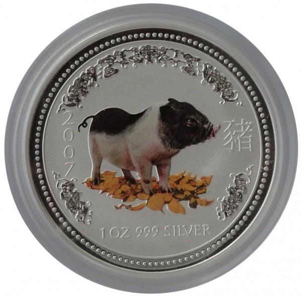 Australien 1 Oz Silber Lunar Serie I Schwein 2007 Farbe Color