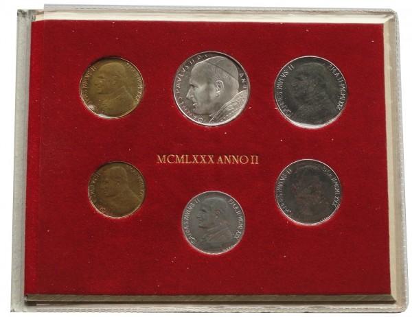 Vatikan 880 Lire Kursmünzensatz Papst Johannes Paul II Stempelglanz im Blister