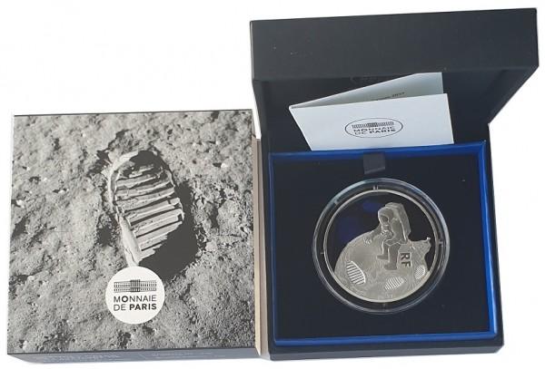 10 Euro Mondlandung Frankreich Silbermünze 2019 Polierte Platte im Etui