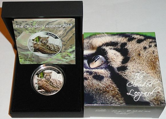 Fiji 10 Dollars Silbermünze Diamond of Nature The Clouded Leopard Nebelparder 2013 Polierte Platte