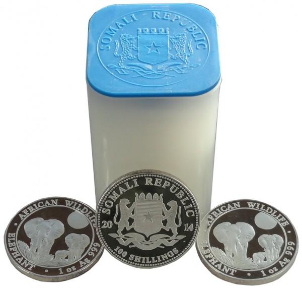 Somalia 20 x 100 Shillings 1 Oz Silber African Wildlife Elefant 2014 in Münztube