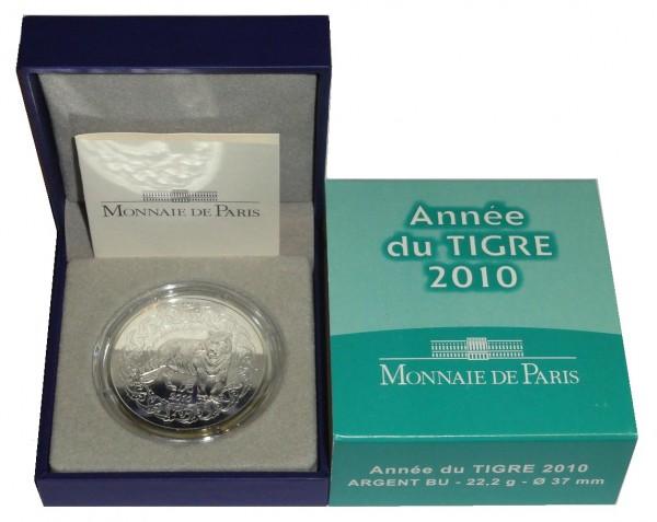 Frankreich 5 Euro Silbermünze Tiger 2010 BU im Etui