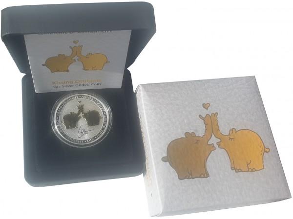1 Oz Silber Ottifanten 2020 Gilded vergoldet - Küssende Elefanten Silbermünze Tuvalu