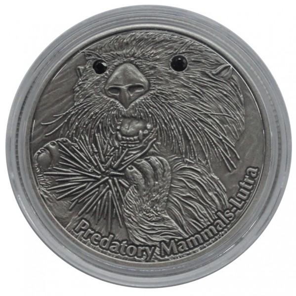 Fiji 10 Dollars 1 Oz Silber Predatory Mammals Lutra ( Fischotter ) 2012 mit Swarovski