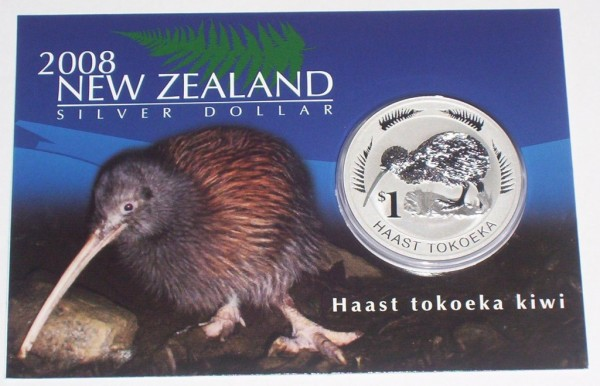 Neuseeland 1 Oz Silber Kiwi 2008 St im Blister
