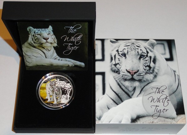 Fiji 10 Dollars Silbermünze Diamond of Nature White Tiger 2012 Polierte Platte