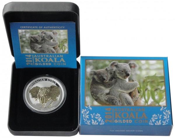 Australien 1 Oz Silber Koala 2014 vergoldet Gilded im Etui