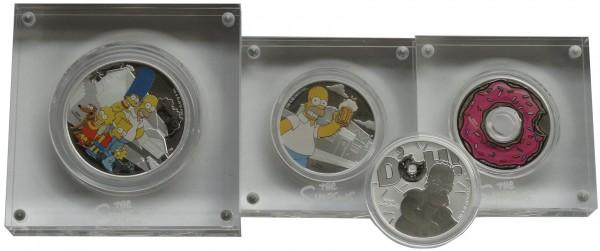 The Simpson Münzen Tuvalu - 4er Set - Silbermünzen Sparpaket !