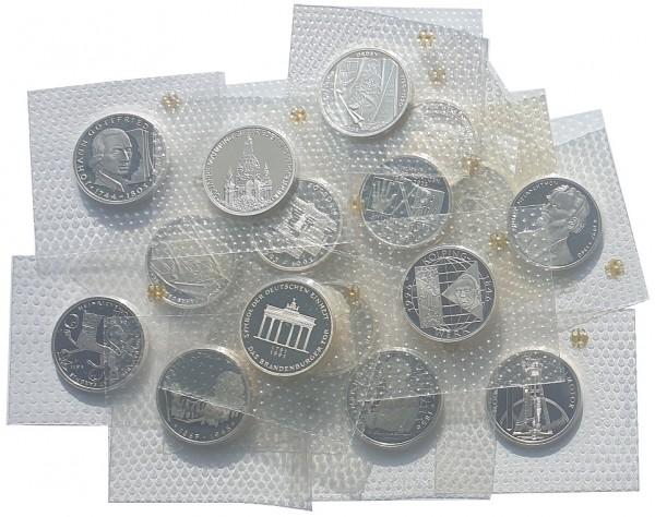 BRD: 10 DM Silber Gedenkmünzen 1987 - 1997 Polierte Platte Noppenfolie